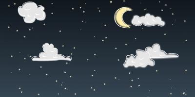 Sterrenhemel met maan en wolken