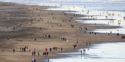 Mensen op strand