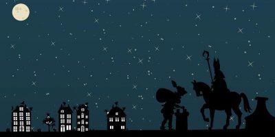 Silhouet Sinterklaas op dak